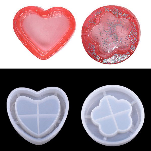 Heart Flower Shaped DIY Ashtray Silicone Clay Epoxy Resin Mobile Phone Candy Chocolate Cake Jewelry Molds 2 Pcs/set Wholesale