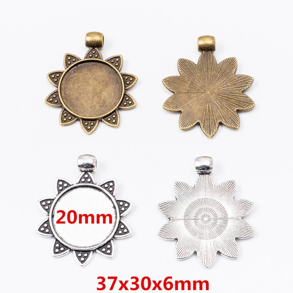 vente en gros 21pcs métal cru charme en alliage de zinc de 20 mm forme de fleur photo FRAM pendentif efor bijoux diy résultats 6287