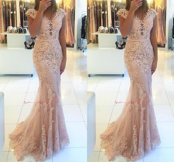 2019 Elegant Full Lace Mermaid Evening Dresses Pink V-Neck Cap Sleeves Tulle Long Party Prom Gowns Red Carpet Dresses