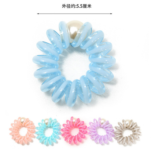 Multicolor Elastic HairBands Spiral Shape Ponytail Hair Ties Gum TPU Band Hair Rope Telephone Wire Hair Accessories With Pearl