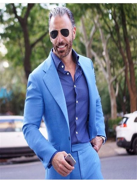 2019 Tailored Light Blue Suit Men Groom Tuxedo Slim Fit 2 Piece Blazer Prom Wedding Suits For Men Terno Masculino Jacket+Pant