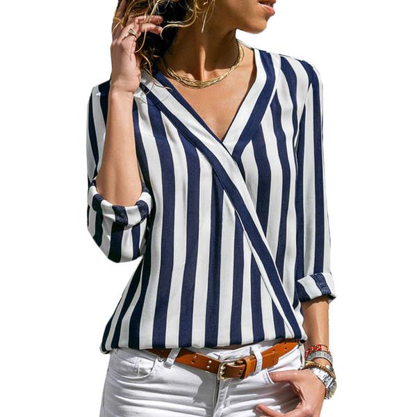 Camicetta a righe da donna Camicetta a maniche lunghe Camicetta con scollo a V Camicetta casual Top Camicetta e chemisier Femme Blusas