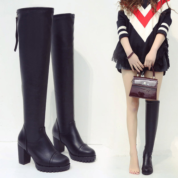 leather thigh high overknee suede quilted with hills thick heel platform fashion flat black boot shoe female designer brand