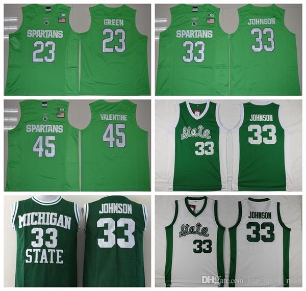 Michigan State Spartans Jerseys College basketball 33 Johnson Shirt Green White Uniform 45 Denzel Valentine 23 Draymond Green size s-3xl