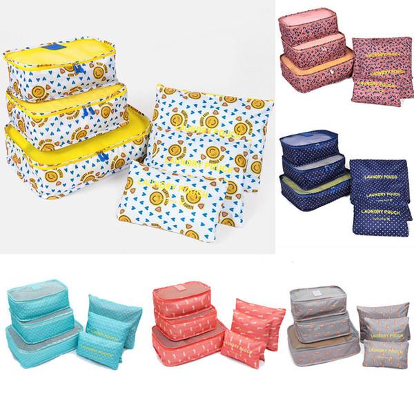 6pcs insiemi di corsa Home Storage Borse Abbigliamento impermeabile 2019 Tidy Pouch imballaggio Cube Deposito Organizer Portable sacchetti di immagazzinaggio