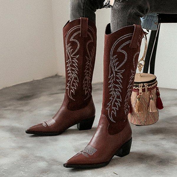 Satin Al 2020 Yeni Bayan Cizme Bati Kovboy Cizme Icin Kadinlar Sivri Burun Cowgirl Kare Topuklar Diz Yuksek Kadin Ayakkabi Tl511 07 Dhgate Comda