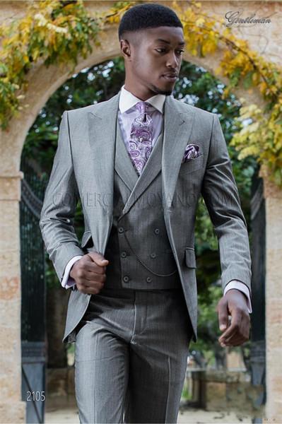 Mode hellgrau Bräutigam Smoking Peak Revers Groomsmen Mens Hochzeitskleid ausgezeichnete Mann Jacke Blazer Business-Anzug (Jacke + Pants + Weste + Tie) 669