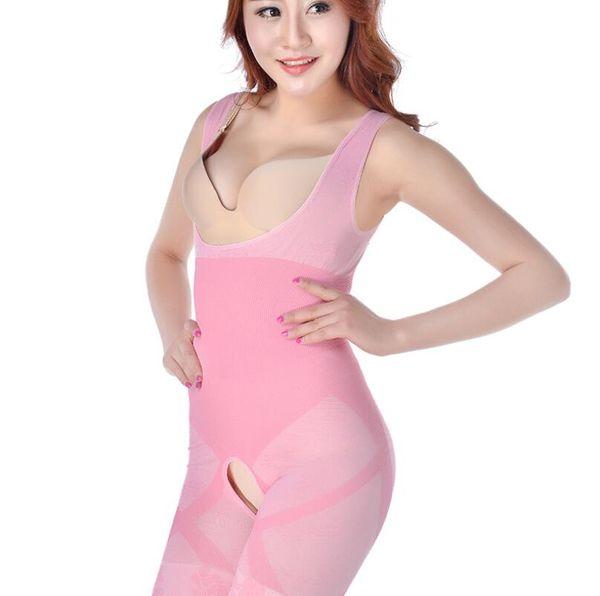 Sıcak Doğal Bambu Zayıflama Vücut Suit Shaper Firma Kontrol Anti Selülit Iç Çamaşırı Tam Vücut slimmer Shaperwear bel eğitimi