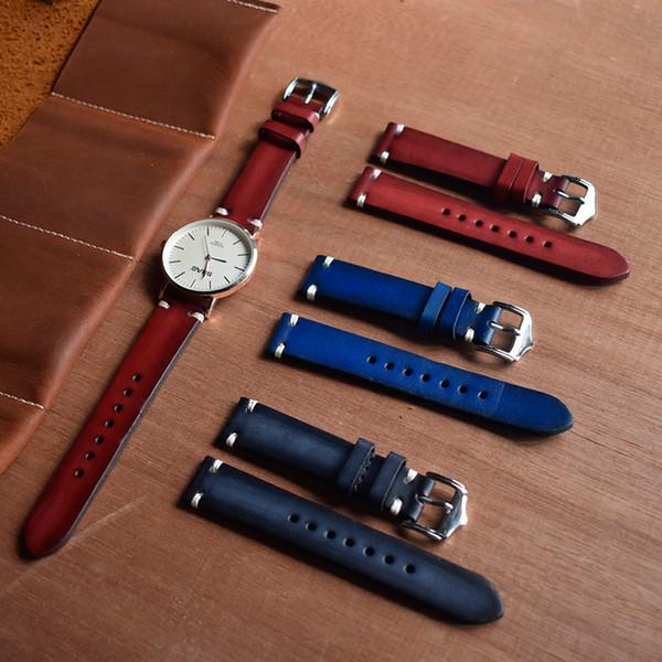 2019 Handmade Pulseira de Relógio de Couro Genuíno Pulseira de Relógio Do Vintage Substituição Banda Pulseira de Fivela 20mm Vermelho Preto Azul KZTS03
