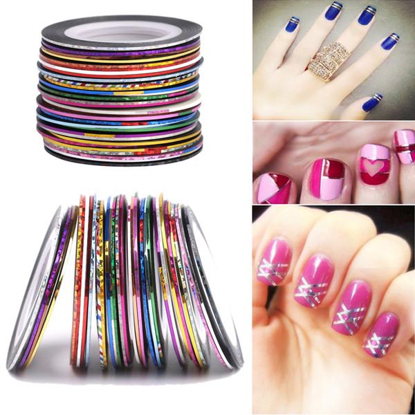 100 Rollos Nail Striping Tape Decal Lines Juego de láminas de color mezclado Adhesivo Nail Stickers Nail Art Tips Decoraciones DIY Herramientas de peinado