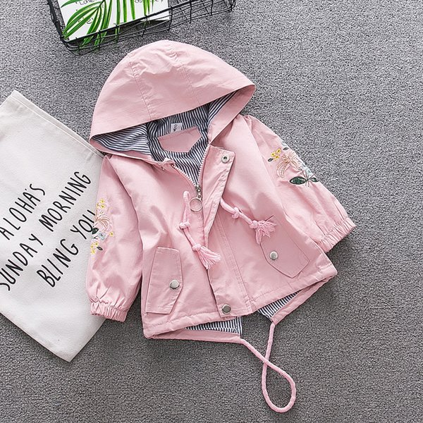 Baby Girl Jacket Spring Autumn Toddler Fashion Embroidered Flower Long Sleeve Girls Outerwear Coats Kids Hooded Windbreaker 1-4Y