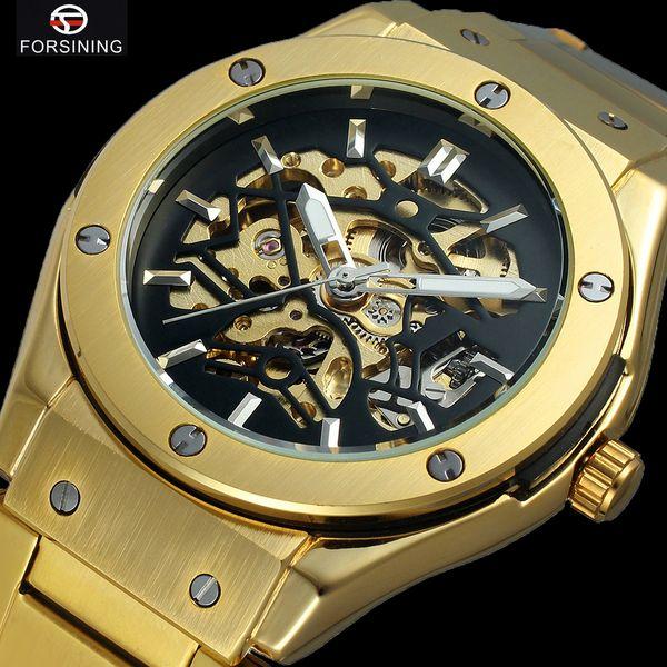 FORSINING Steampunk Gold Herren Mechanische Uhren Skeleton Uhren Selbstaufzug Automatische Uhr Mann Männlich Armbanduhren Relogio Reloj