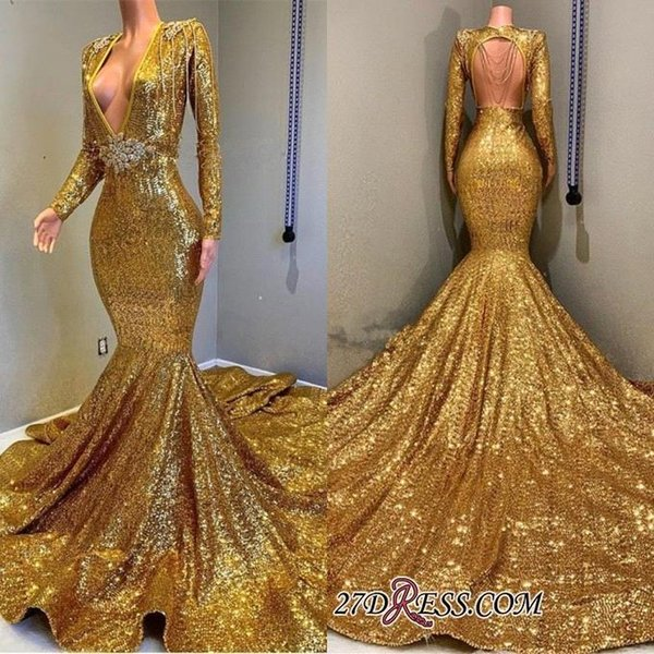 2019 Beautiful Gold Sexy Mermaid Prom Dresses Long Plus Size Backless Bling Bling Sequined Evening Party Wear Formal Dress vestidos