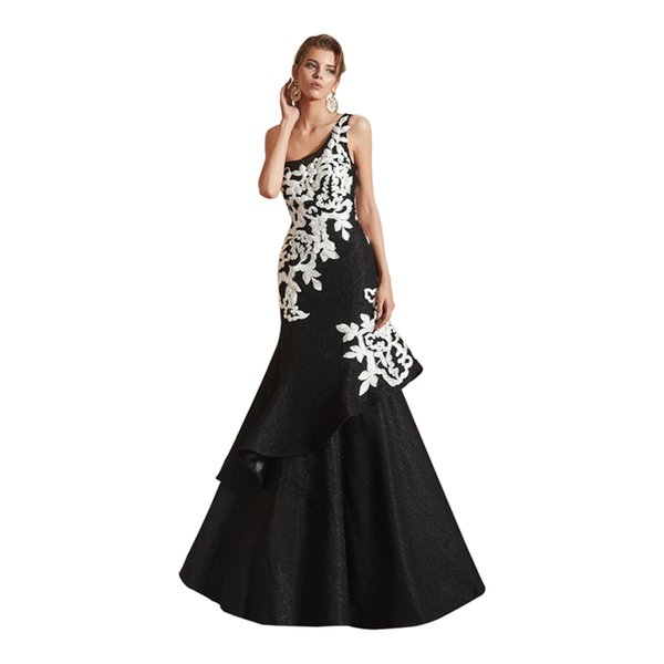 One shoulder Mermaid Lace Applique Tiered Skirt Floor Length Evening Dresses Celebrity Gowns Custom Made Evening Gowns
