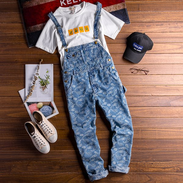 Hip-hop Strap Jean Jumpsuits For Adult Mens Loose Suspender Pants Men Jeans Bib Denim Overalls Boyfriend Jumpsuits Women