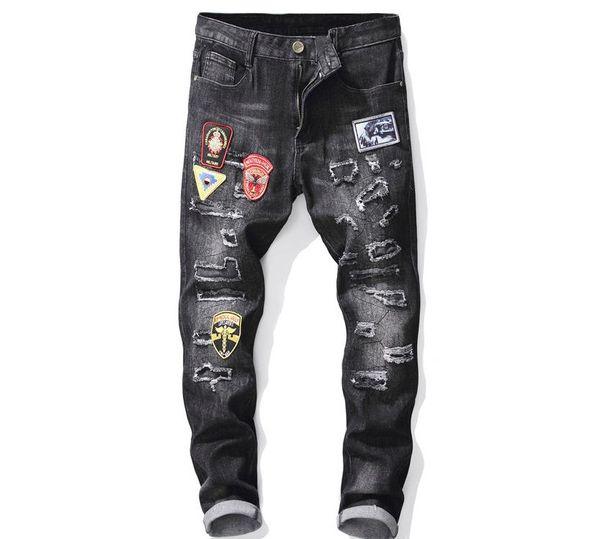 Mens Vintage Blue Black Distressed Ripped Patch Badge Hole Straight Slim Stretch Denim Hip Hop Biker Jeans Trousers #2019
