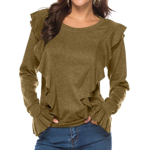 Moda Kadınlar Lüks Çan Kollu Gömlek 2019 Yeni Varış Bayan Casual T Shirt Düz Renk Uzun Kollu T Gömlek Giysi Tasarımcısı
