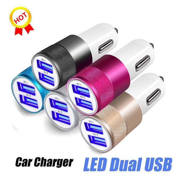 Per caricabatterie da auto per iPhone 3.1A Caricabatterie da viaggio con doppia porta USB Adattatore rapido portatile per smartphone Android Samsung S10