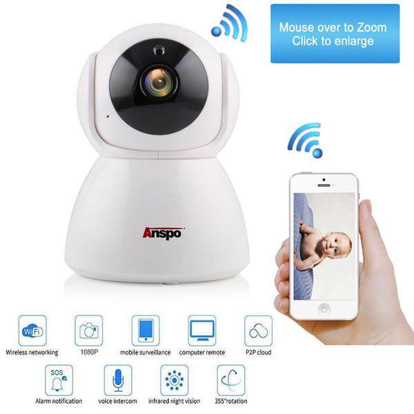 Anspo Wireless 1080P/720P Pan Tilt Network Home CCTV IP Camera Network Surveillance IR Night Vision WiFi Webcam Indoor Baby Monitor