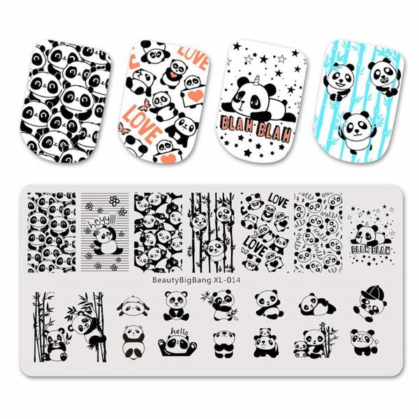 BeautyBigBang Stamping Platten Cute Panda Bamboo Bild Vorlage Edelstahl Nail Art Stamping Platte Nagel Schablone BBB XL-014