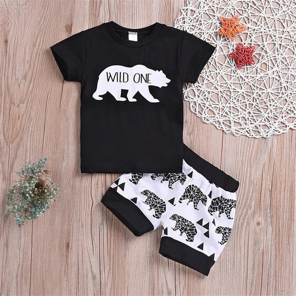 """Stylish INS Toddler Baby Boys Cartoon Animal Tees Suits Cotton Black """"WILD ONE"""" Tshirts Sets Summer Children Clothing Outfits for 0-4T"""