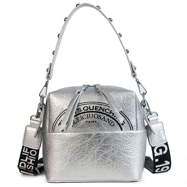 Printing Pattern Women Crossbody Bag Rivet Hand Strap Shoulder Bag Zipper Cube Pleated Pu Leather Soft Handbag