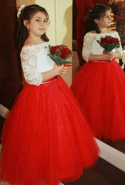 Pageant Kids Gown Bateau Red Tulle Flower Girl Dresses For Wedding Long Lace Floor Length Child Party Birthday Dress