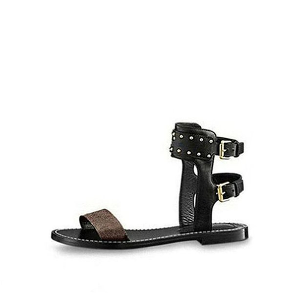 Luxury women nomad sandals Summer Ladies Canvas gladiator style flats sandal black golden sandals for Party Sexy Fashion Ladies Shoes Q17