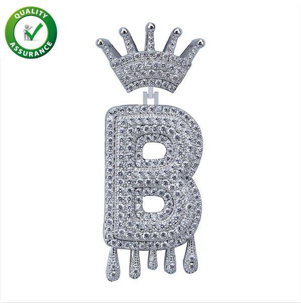 Helado hacia fuera Colgante Joyería de Hip Hop Para Hombre Diseñador de lujo Collar Diamante Corona de la vendimia Letra inglesa Borla Colgantes para Hombres Mujeres Boda