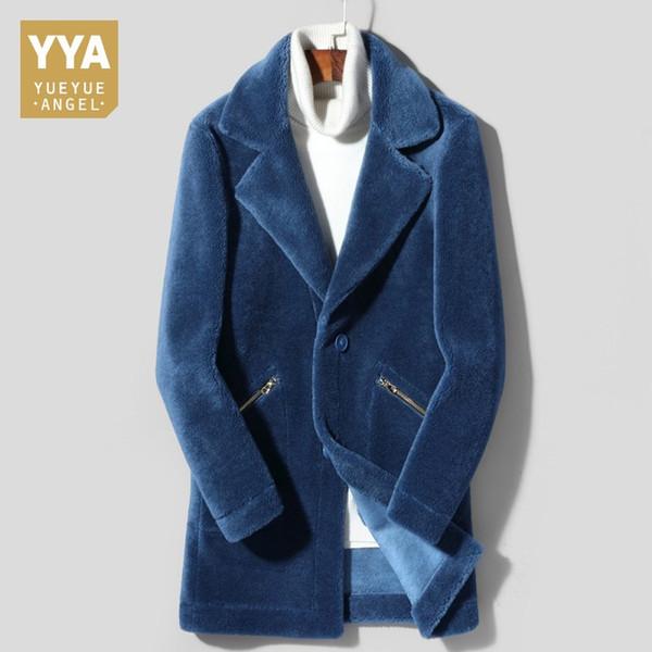 Marka Yeni Erkek Kış Shearlıng Gerçek Kürk Uzun Slim Fit Geri Dönüşümlü Motosiklet Palto Slim Fit Lüks Süet Deri Ceketler