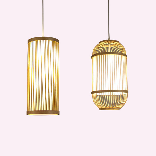 Japanese style bamboo rattan lampshade Pendant Lights hand-woven E27 restaurant living room corridor aisle Tatami Lamps
