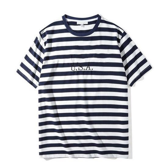 New male and female letters USA Mens Striped T shirts Summer Fashion Embroidery Designer Tees Short Sleeved Tops Clothes