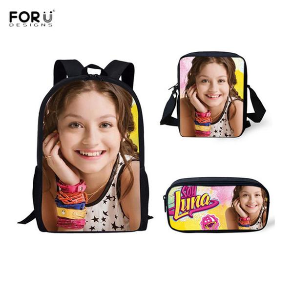 FORUDESIGNS 3pcs School Bags Soy Cartoon School Backpacks Teenagers Girls Book Bag Bagpack Primary Students Casual Rucksack