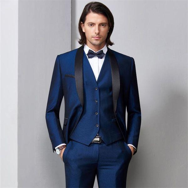New Navy Blue Men Wedding Suits Black Satin Shawl Lapel Groom Tuxedos 3 Piece Jacket+Pants+Vest Groomsman Suits Best Man Blazer 558