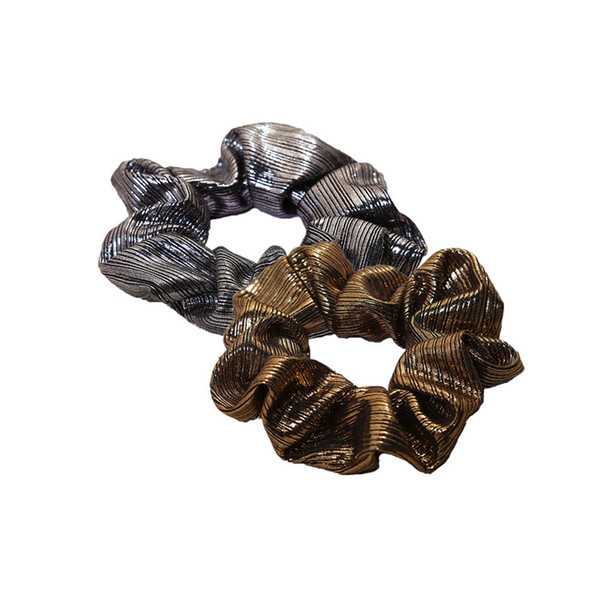 1pc PU Faux Leather Hair Bands Elastic Hair Ties Black/Gold Scrunchies for Women Ropes Fabric Ponytail Holder Accessories