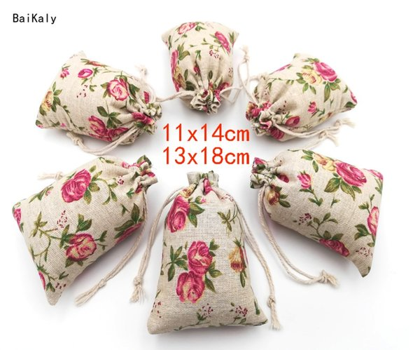 50pcs Rose printing Cotton Linen Jute Drawstring Bag Pouch Jewelry Packaging Bags Wedding Party Favor Gift Packing Bags Supplies