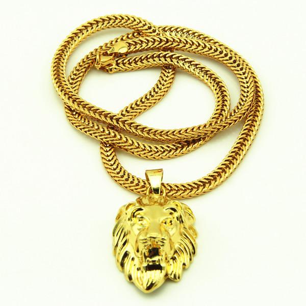 Oro JRL gran cabeza de león colgante, collar animal Rey 18k de la vendimia plateado Hiphop cadena para la cadena de joyería de los hombres / mujeres KKA3507