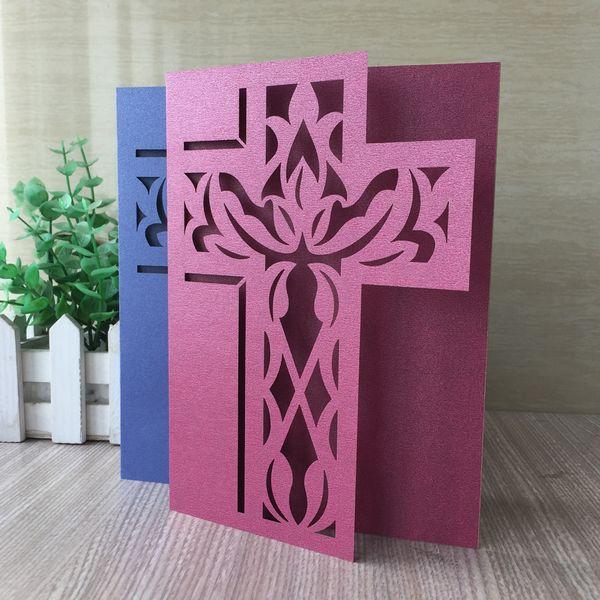 Compre 35 Unids Lote Christian Cross Invitaciones De Boda Tarjetas Gran Tema Evento Cumpleaños Bendición Bautizo Bautismo Tarjetas De Invitación