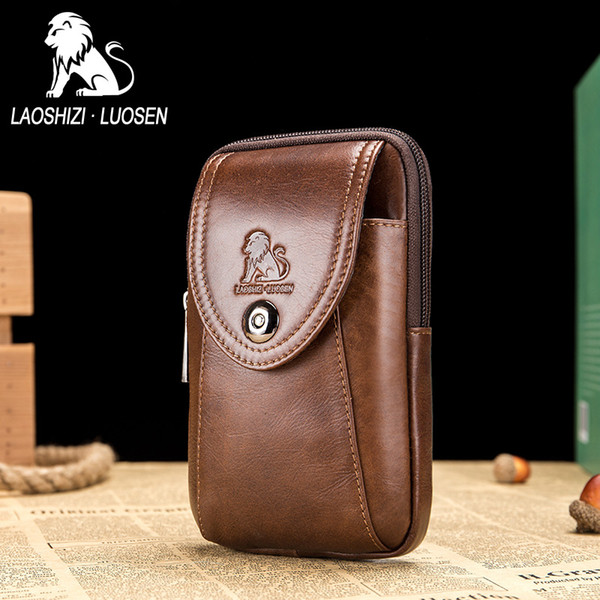 Laoshişi luosen cinto de moda bolsa de cinto de couro genuíno dos homens para o telefone móvel saco de cintura para homens fanny packs pequeno marrom