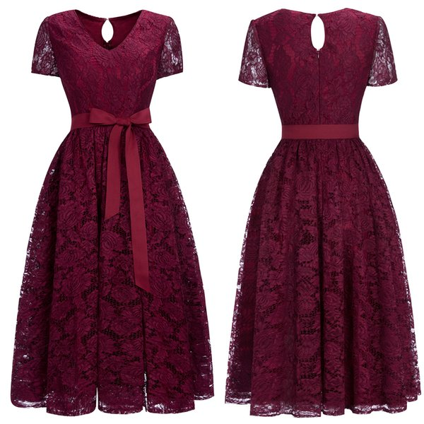 2019 New Cheap Burgundy Lace Designer Cocktail Party Dresses Short Sleeves V Neck Sash Tea Length Womens Formal Evening Wear CPS1153
