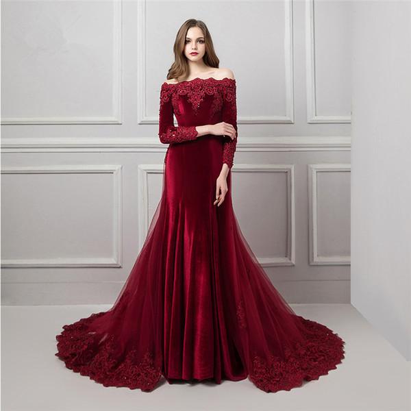 2018 elegante burgund samt meerjungfrau abendkleider abnehmbare zug perlen 3/4 ärmeln bateau prom kleider perlen spitze frauen formales kleid prom