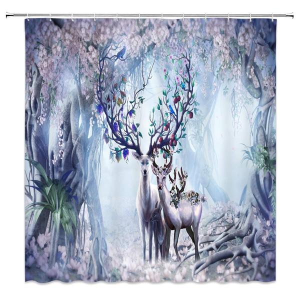 Fantasy Forest Cute Deer Elk with Fruits Antlers Cartoon Wildlife Flowers Trees Fairy Scenery Decor Fabric Bathroom Curtains
