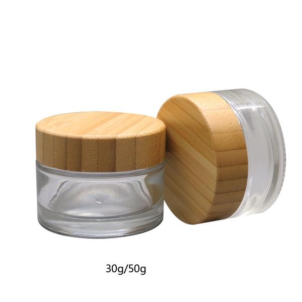 Atacado 100 pcs 30g Frasco De Vidro Fosco com tampa de bambu Vazio Creme Frascos Recipientes De Embalagem Cosmética Pote Com Tampa Para A Mão creme Container