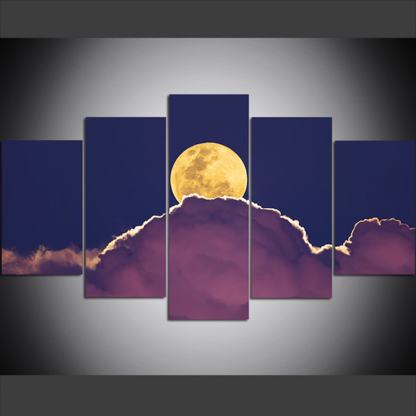 5 Piece Large Size Canvas Wall Art Pictures Creative Moon, Cloud, Natural Scenery Art Print Oil Painting for Living Room