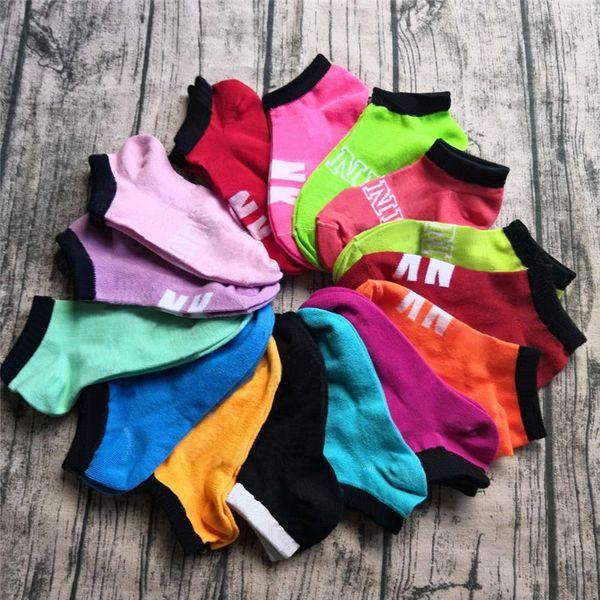 best selling Pink Black Ankle Socks Sports Cheerleaders Short Sock Girls Women Cotton Sports Socks Pink Skateboard Sneaker Stockings Multicolor