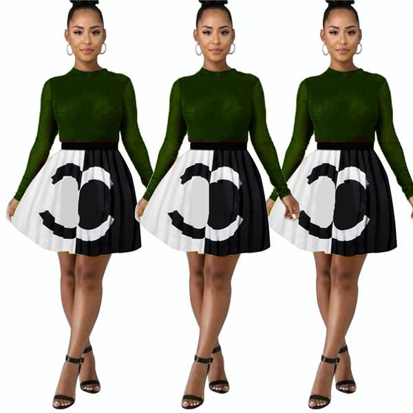 2019 Tasarımcı Kadın Elbiseler C Mektup Baskılı Eklenmiş Yaz Etekler Marka Pileli Etek Abiye Parti Kulübü Kadın Elbise 2019 C7207