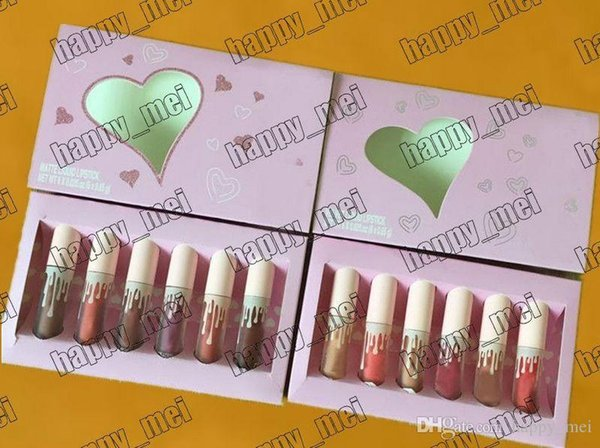 Free Shipping ePacket New Makeup Lip Pink Box Cosmetics Birthday Collection Matte/Velvet Liquid Lipstick!1 Set=6 Pieces