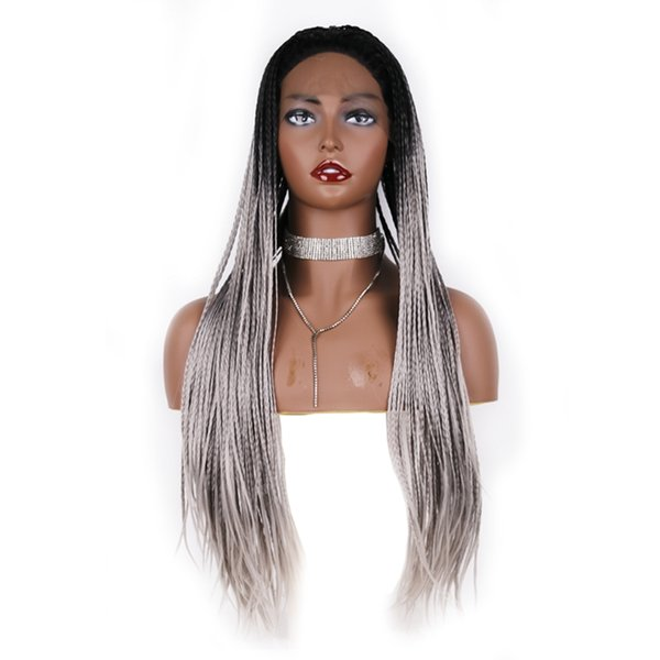 Free Shipping Dark Roots Long Box Braided Lace Front Wig Heat Resistant Free Part #1b/grey Ombre Braiding Synthetic Wigs For Women Hair