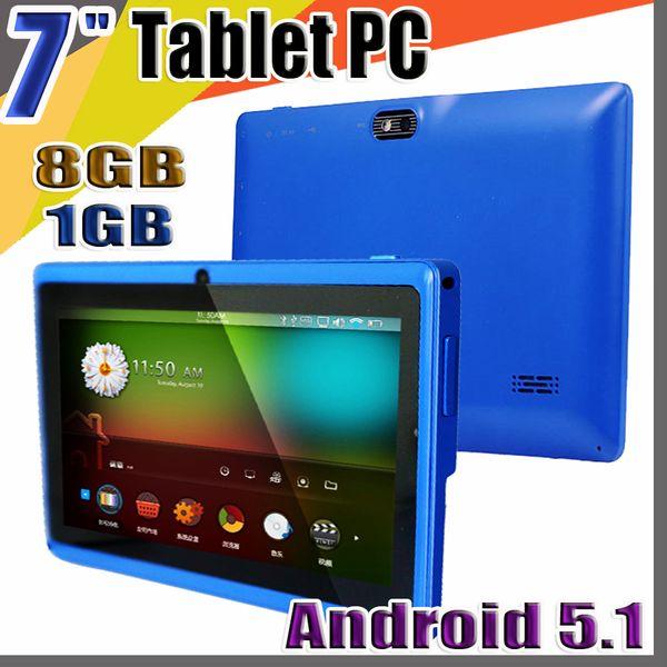 "top popular 848 Allwinner A33 Quad Core Q88 Tablet PC Dual Camera 7"" 7 inch capacitive screen Android 5.1 1GB 8GB Wifi Google play store flash C-7PB 2020"