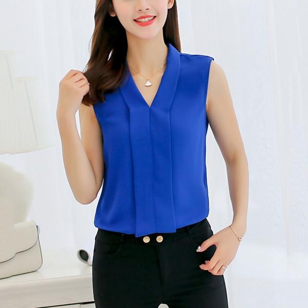Летние женские рубашки блузки Fashion Fresh Women Blouse Твердые повседневные женские рубашки без рукавов с V-образным вырезом Топы Blusas